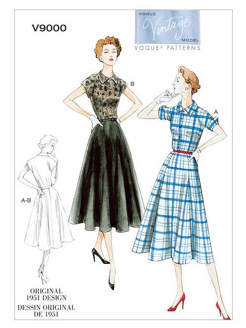 Vogue V9000 Tageskleid von mit Kragen 1951