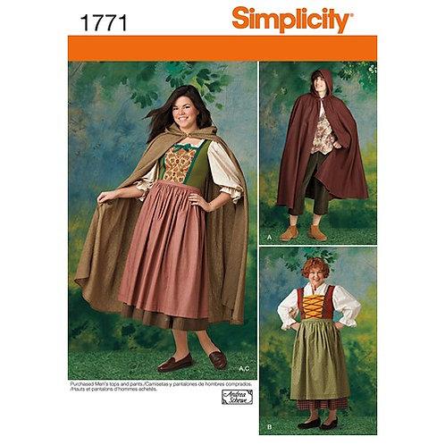 Simplicity 1771 mittelalterliche Kostüme für Damen und Herren