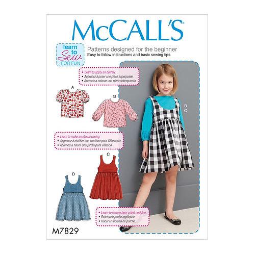 McCall`s M7829 Mädchenkleid und Shirt