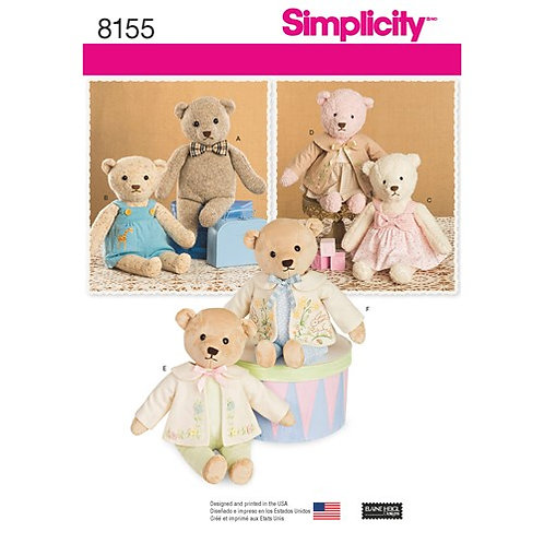 Simplicity 8155 Bären mit Kleidung
