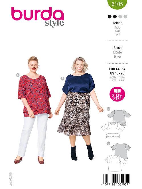 Burda 6105 Shirt für große Größen