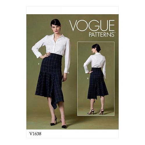 Vogue V1638 Designer-Rock mit asymmetrischen Volant