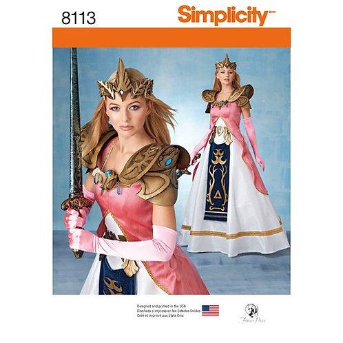 Simplicity 8113 Damen - Kostüm mit Rüstung, Gürtel und Krone