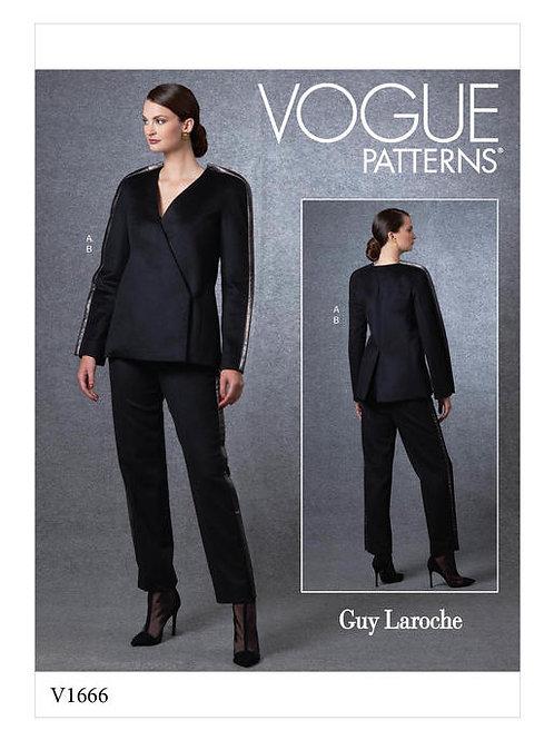 Vogue V1666 lockere Jacke mit sich verjüngende Hose by Guy Laroche