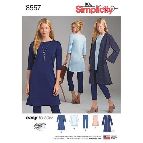 Simplicity 8557 lässiges Keid, Hose, Tunika & Mantel