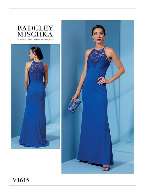 Vogue V1615 bodenlanges Abendkleid by Badgley Mischka