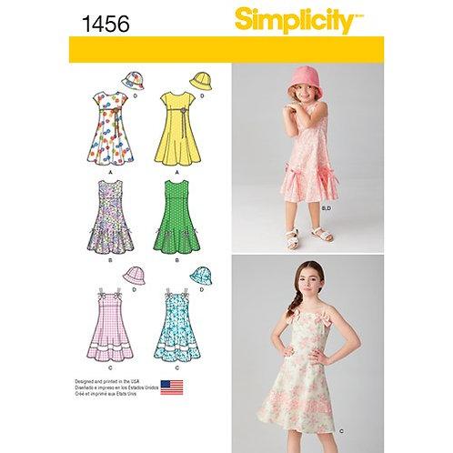 Simplicity 1456 Mädchenkleid mit Variationen und Hut