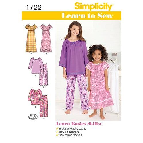 Simplicity 1722 Kinder- und Mädchen-Loungewear