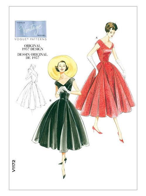 Vogue V1172 Nachmittagskleid mit V-Ausschnitt von 1957