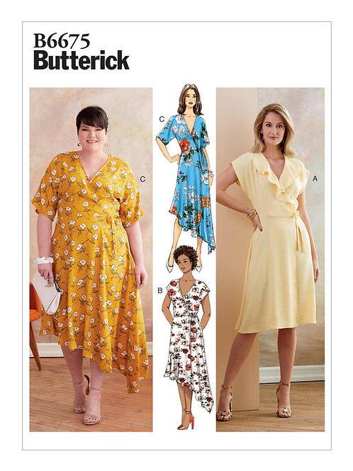 Butterick B6675 angesagtes Wickelkleid