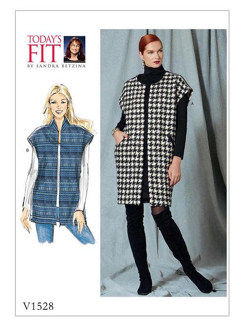 Vogue V1528 lockere Weste mit Kragen- & Längenvarianten