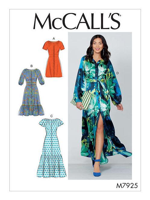 McCall's 7925 Kleid mit Volant & vorderer Knopfleiste