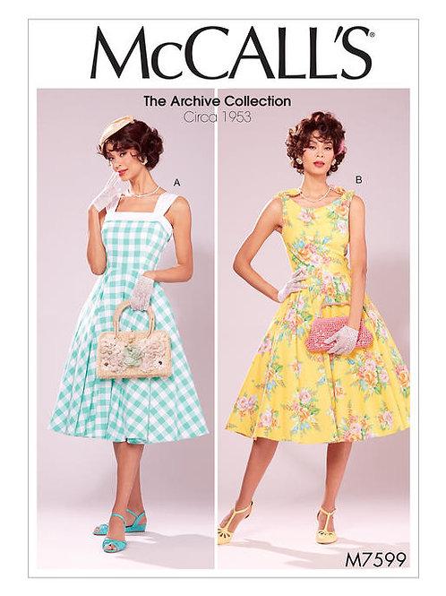McCall's 7599 sommerliches Petticoatkleid ca. 1953