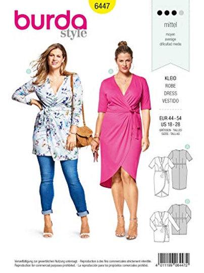 Burda 6447 Jersey - Kleid mit Wickeloptik