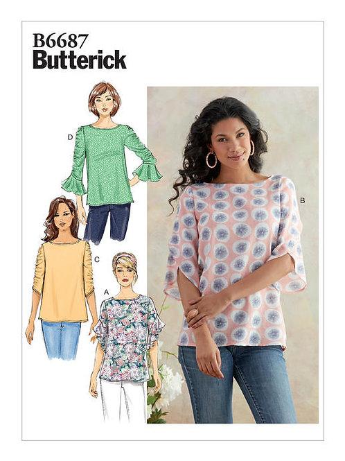 Butterick B6687 taillierte Bluse mit Ärmelvariationen