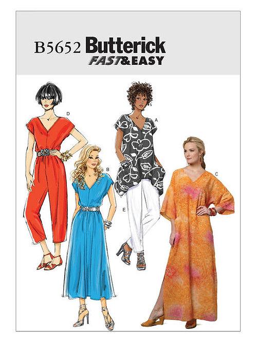 Butterick B5652 Kleid, Overall, Kaftan, Top & Hose