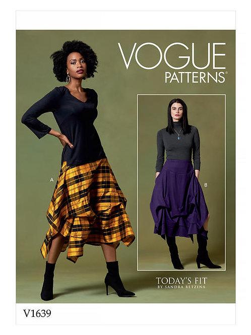 Vogue V1639 Designerrock mit Seitentaschen