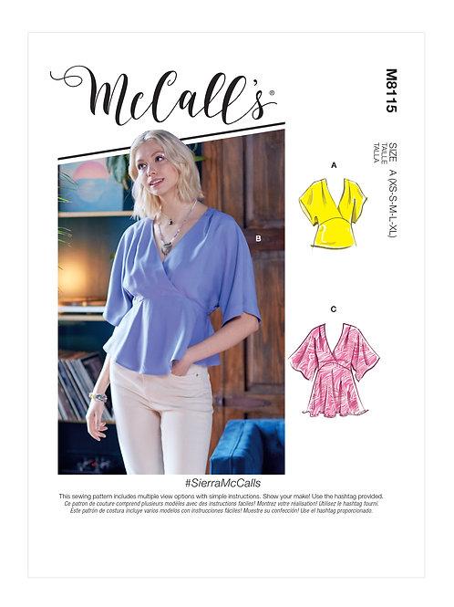 McCall's 8115 Bluse mit Raglanärmel