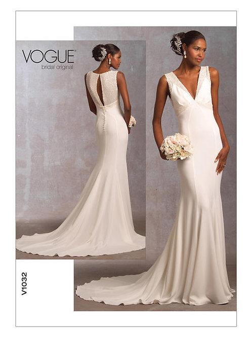 Vogue V1032 schmales Hochzeitskleid mit Empire-Taille
