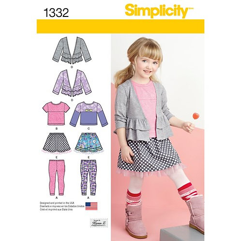 Simplicity 1332 Kinderrock, Leggings, Shirt und Strickjacke