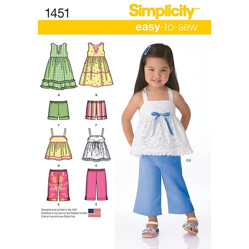 Simplicity 1451 Kleid, Top, Hose & Shorts