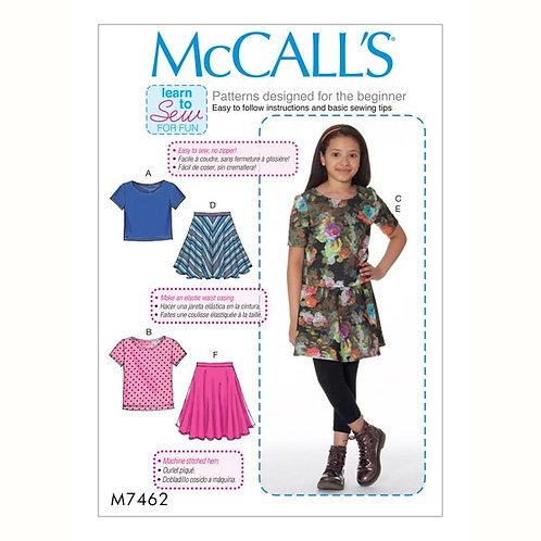 McCall`s M7462 Mädchen-Rock und Shirt
