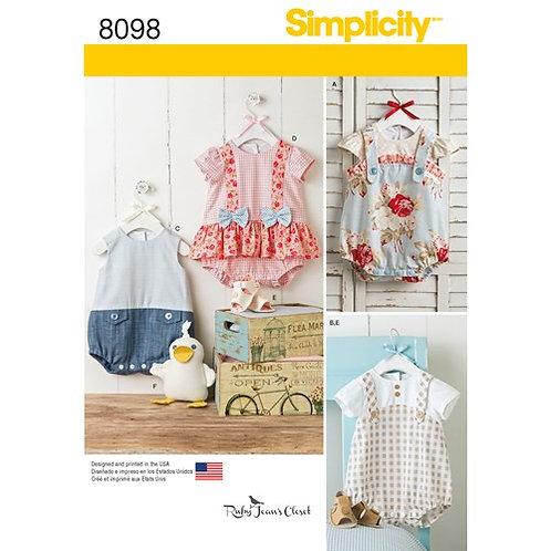 Simplicity 8098 Baby Strampler, Sandalen und Ente