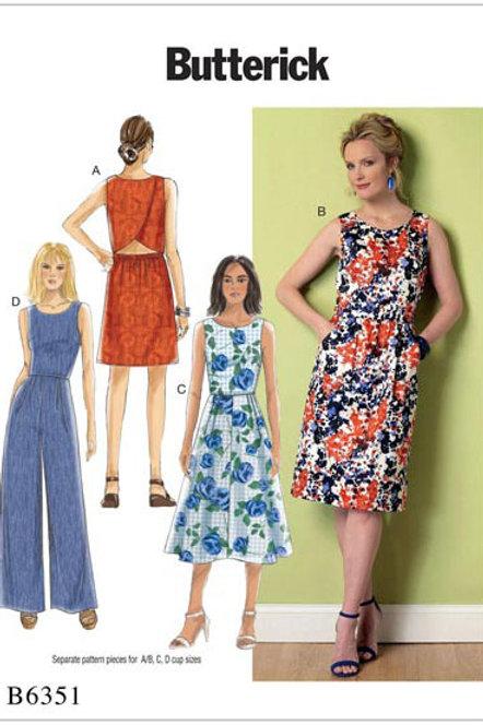 Butterick B6351 ärmellose Kleid und Overall