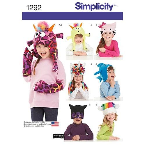 Simplicity 1292 Kinderhut und Fäustlinge