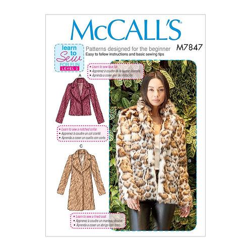 McCall`s M7847 Jacke oder Mantel
