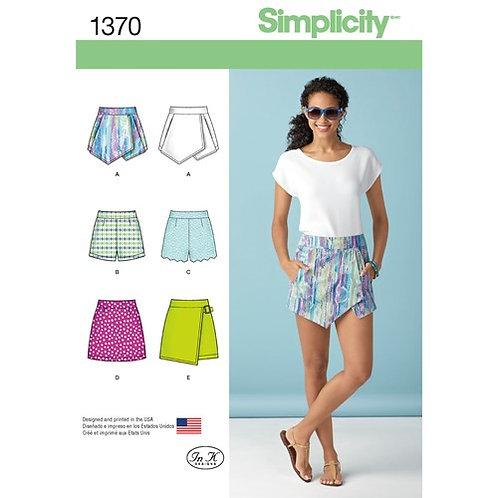 Simplicity 1370 asymmetrischer Minirock & Shorts