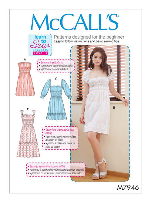 McCall's 7946 gesmoktes Sommerkleid mit Varianten