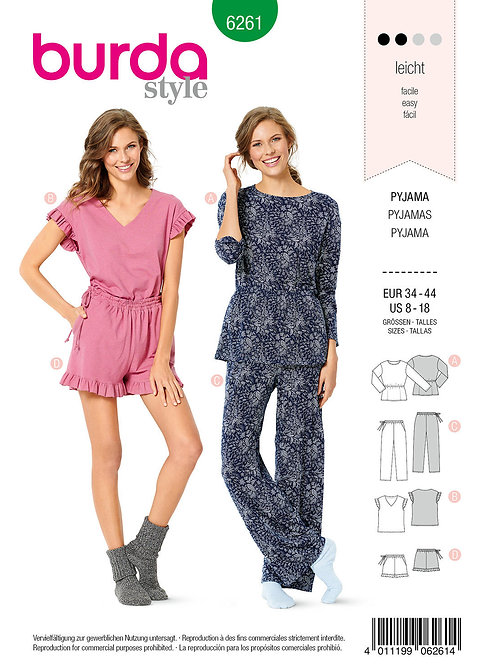 Burda 6261 Pyjama in zwei Varianten