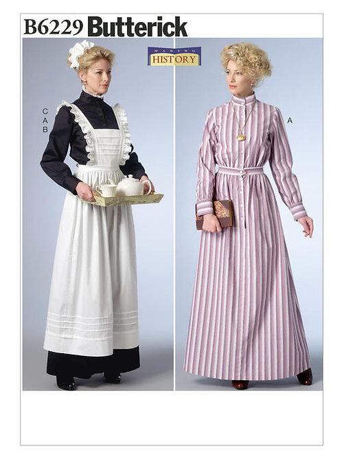 Butterick B6229 Kleid, Schürze & Kopfbedeckung