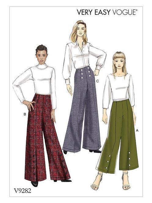 Vogue V9282 Hose mit Knopfdetails