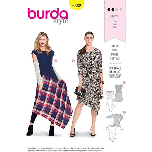 Burda 6352 asymmetrisches Jerseykleid