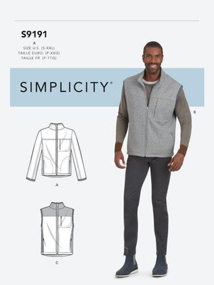 Simplicity 9191 Herrenjacke und Weste