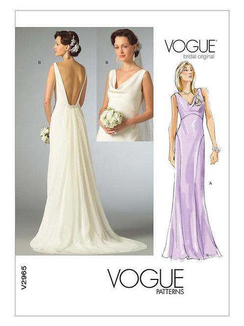 Vogue V2965 Hochzeitskleid mit Wasserfallausschnitt