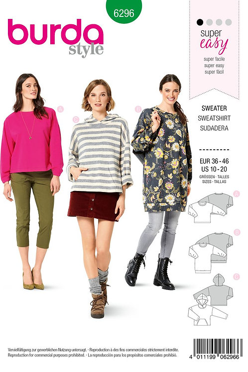 Burda 6296 komfortable Sweater