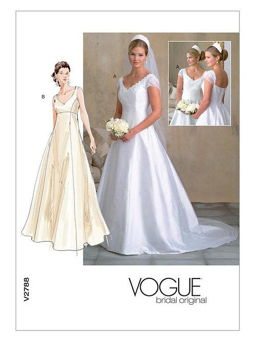 Vogue V2788 Hochzeitskleid mit Empire-Taille