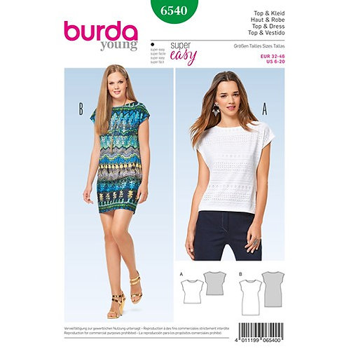 Burda 6540 Shirtkleid o. Shirt