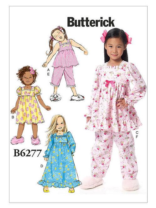 Butterick B6277 Mädchen Nachtwäsche