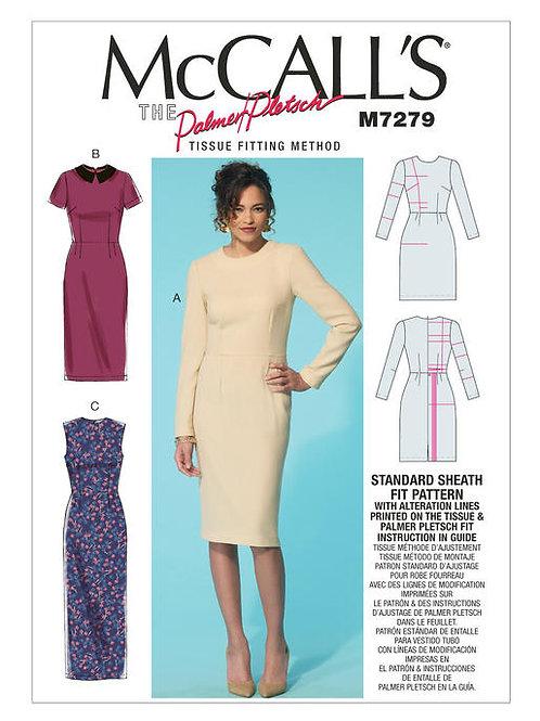 McCall's 7279 schmales Kleid mit Kragenvarianten