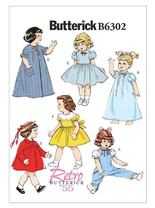 Butterick B6302 Retro Puppenkleidung