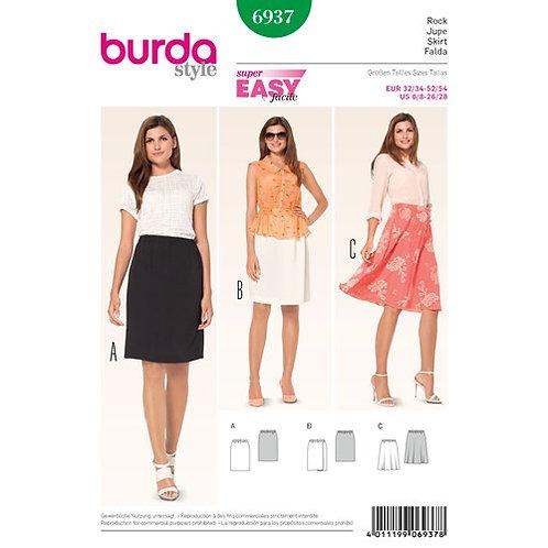 Burda 6937 einfacher Rock mit elastischen Bund