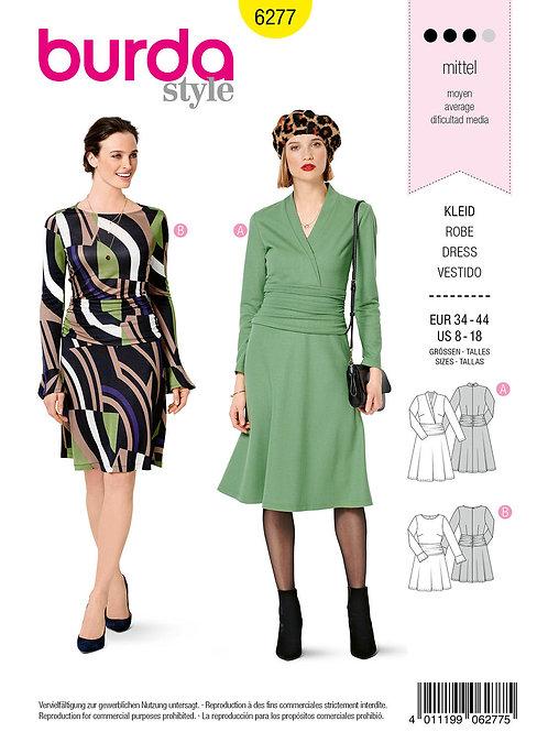 Burda 6277 Jersey - Kleid mit Drapierung