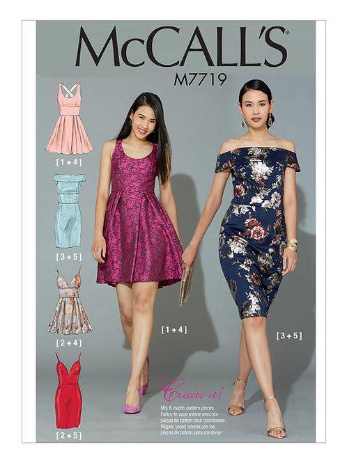 McCall's 7719 anliegendes Kleid mit Varianten