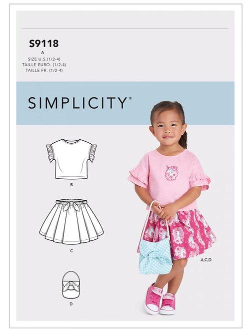 Simplicity 9118 Kleinkindshirt, Rock und Tasche