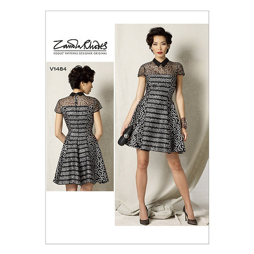 Vogue V1484 tailliertes Bahnenkleid by Zandra Rhodes