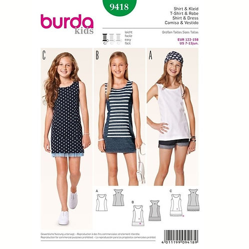 Burda 9418 modisches Kleid & Shirt